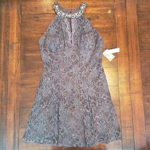 NWT Morgan & Co charcoal semi-formal lace dress
